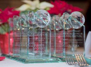 The glass awards for the Immigrant Entrepreneurship Awards winners